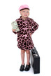 beautiful little girl with money and briefcase