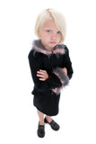 beautiful little pouting girl in black suit with pink feathers poster