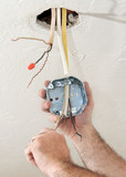 electrician wiring ceiling box poster