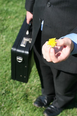 business man with flower