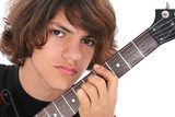 close up of teen boy with electric bass guitar ove poster