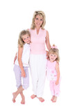 beautiful woman with her daughters over white poster