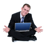 business man sitting on floor with laptop hands ou poster