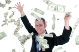 attractive business man in suit throwing money int poster