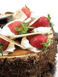 chocolate cake with strawberries topping poster