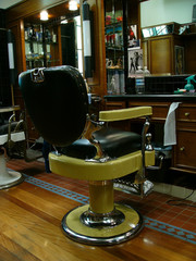 an old fashioned barber's chair (colour)
