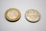 1 euro and 1 deutsche mark
