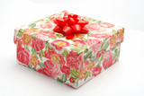 gift box with red ribbon, on white background