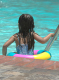 little girl in the pool poster