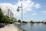 waterfront bicycle trail and marina poster