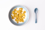 plate of breakfast cereal and spoon poster