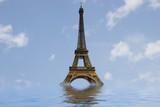 eiffel tower under water