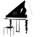 monochrome piano poster