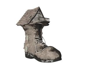pencil sketch shoe house