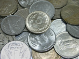 indian currency - coins of different denominations poster