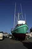 commercial fishing boat on the hard poster
