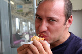 man eating poster
