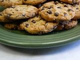 chocolate chip cookies on green plate poster