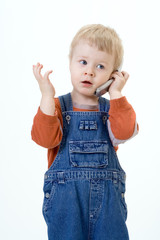 boy and  telephone