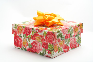 gift box with yellow ribbon