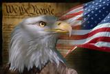 bald eagle and american flag - Fine Art prints