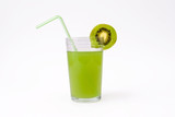 slice of kiwi and glass of kiwi juice with straw poster