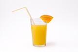 slice of orange and glass of orange juice with str poster