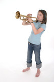 young pre teen girl playing trumpet 2 poster