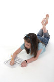 young girl drawing and writing 1 poster