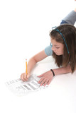 young girl drawing and writing 4 poster
