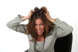 frustrated business woman pulling her hair out 2 poster