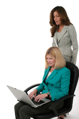 two business women working on laptop 14