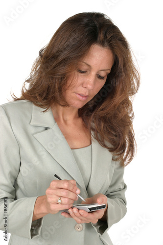 poster of business woman using pda 1