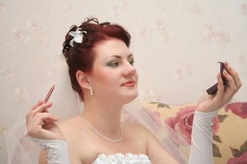 bride dyes lips