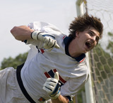 soccer football goal keeper straining for save poster