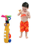 boy in swimsuit with clipping path poster