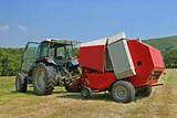 circular hay baler and tractor poster