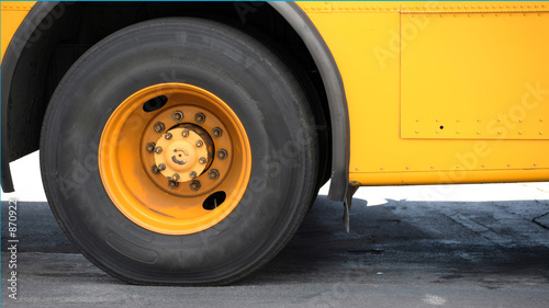school bus back tire background