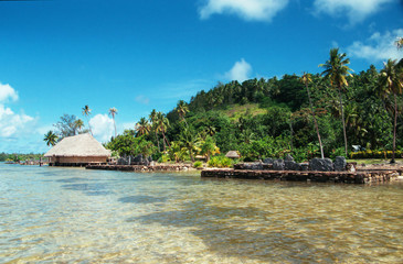 beach front in french polynesia