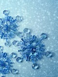 christmas decoration. snowflakes and snow poster