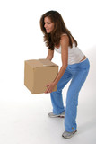 beautiful woman lifting box 2 poster