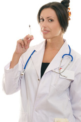 female doctor holding an injectable syringe