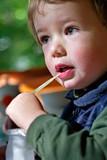 boy drinks milk poster