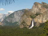yosemite: bridalveil fall & half dome poster