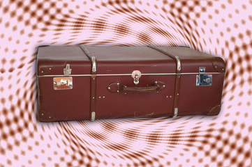 vintage trunk on retro background