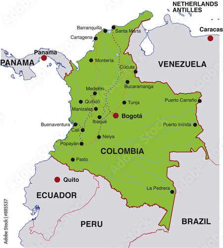 map of colombia. map colombia landkarte