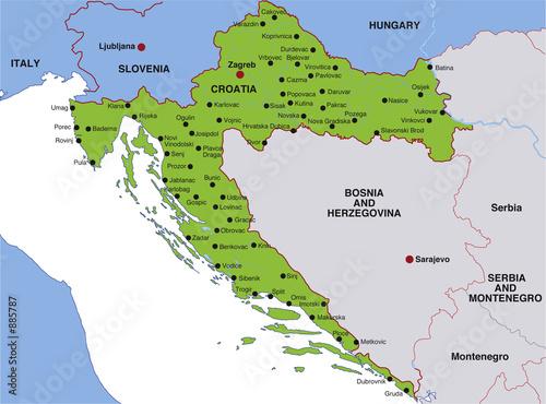 map croatia landkarte kroatien stockfotos und. Black Bedroom Furniture Sets. Home Design Ideas