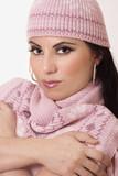 female wearing winter knitwear poster