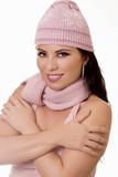 winter glow - female in winter knitwear poster
