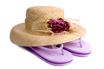 straw hat and flip flops